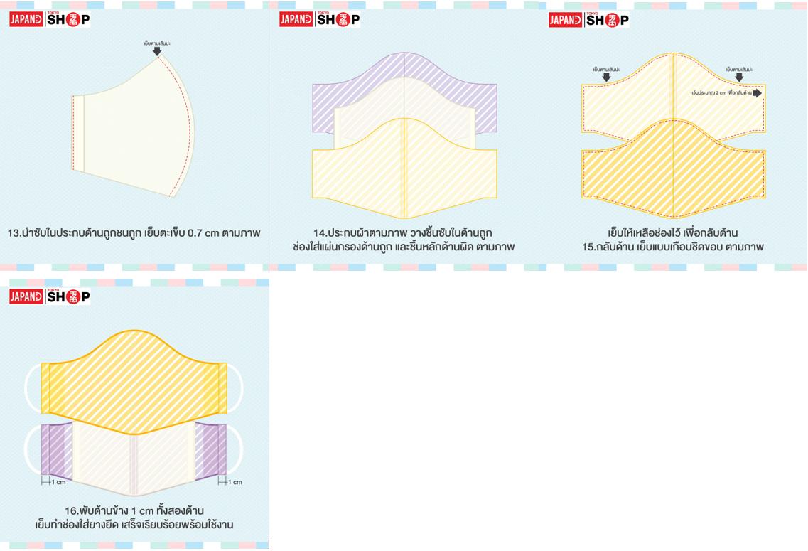2. วิธีการทำหน้ากากผ้าทรง 3D (ทรงญี่ปุ่น) มีช่องสำหรับใส่ฟิวเตอร์หน้ากาก 04
