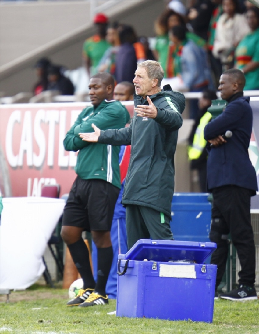 Stuart Baxter head coach of Bafana Bafana during the 1st Leg 3rd Round CHAN Qualifier between South Africa and Zambia at Buffalo City Stadium on August 12, 2017 in East London, South Africa.