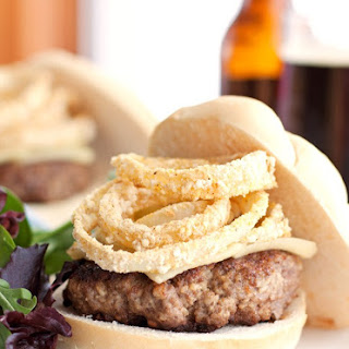 Cheeseburgers Topped With Baked Onion Rings