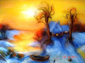 Photo: 512, Нетронина Наталья, «гривен Зимний пейзаж «Оранжевый закат»», шерсть, акрил, вискоза (метод - шерстяная акварель), 30х40 см,