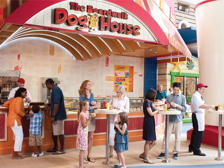 The Boardwalk Dog House on three Royal Caribbean ships serves a wide selection of grilled items.