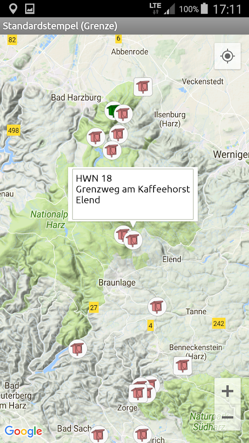 Harzer Wandernadel 2016 – Screenshot