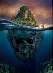 rotseiland in zee; onder water is dit een doodskop