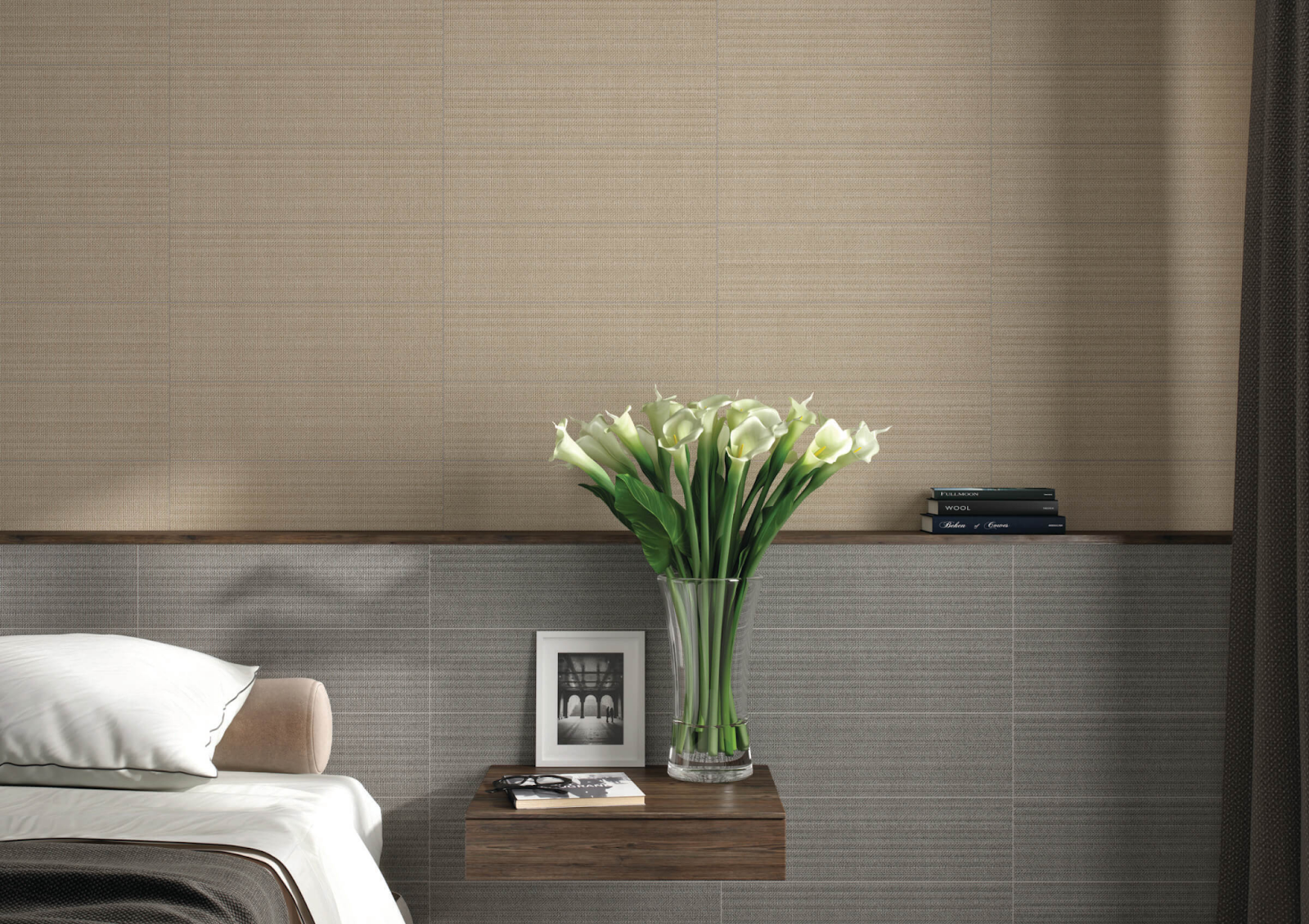 Bedroom with gray and beige textured tile wall