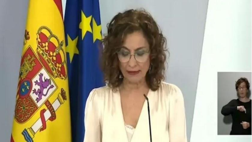 La ministra de Hacienda y portavoz del Gobierno, María Jesús Montero, este martes.