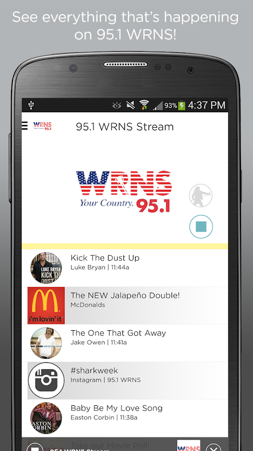 95.1 WRNS- screenshot
