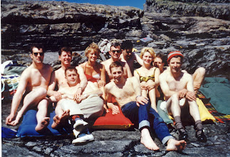 Photo: Bridges of Ross, Kilkee. Aug. '62  left to right, Ronnie Hurley, Ray Doyle, Eoin Geary, Val FitzGerald, Trevor Morrow, Gerry Hayes, Manuel DiLucia, Gloria and Roger Cutland, Donnie Thompson.