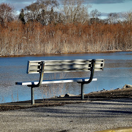 My Happy Place by Kathy Woods Booth - City,  Street & Park  City Parks ( water, peaceful, park, waterscape, calmness, happy, river side, park bench, river )