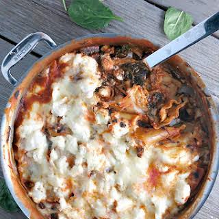 Spinach Mushroom Skillet Lasagna.