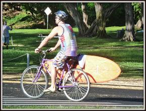Photo: Surfboard carried on bicycle, near Waikiki Beach