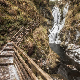 I'm starting to freeze by Wojciech  Golebiewski - Landscapes Weather ( fuji x, winter, nature, cold, waterfall, glenariff forest park, long exposure, northern ireland, steps, landscape, natural, county antrim )
