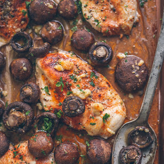Baked Chicken and Mushroom Sheetpan Dinner Recipe