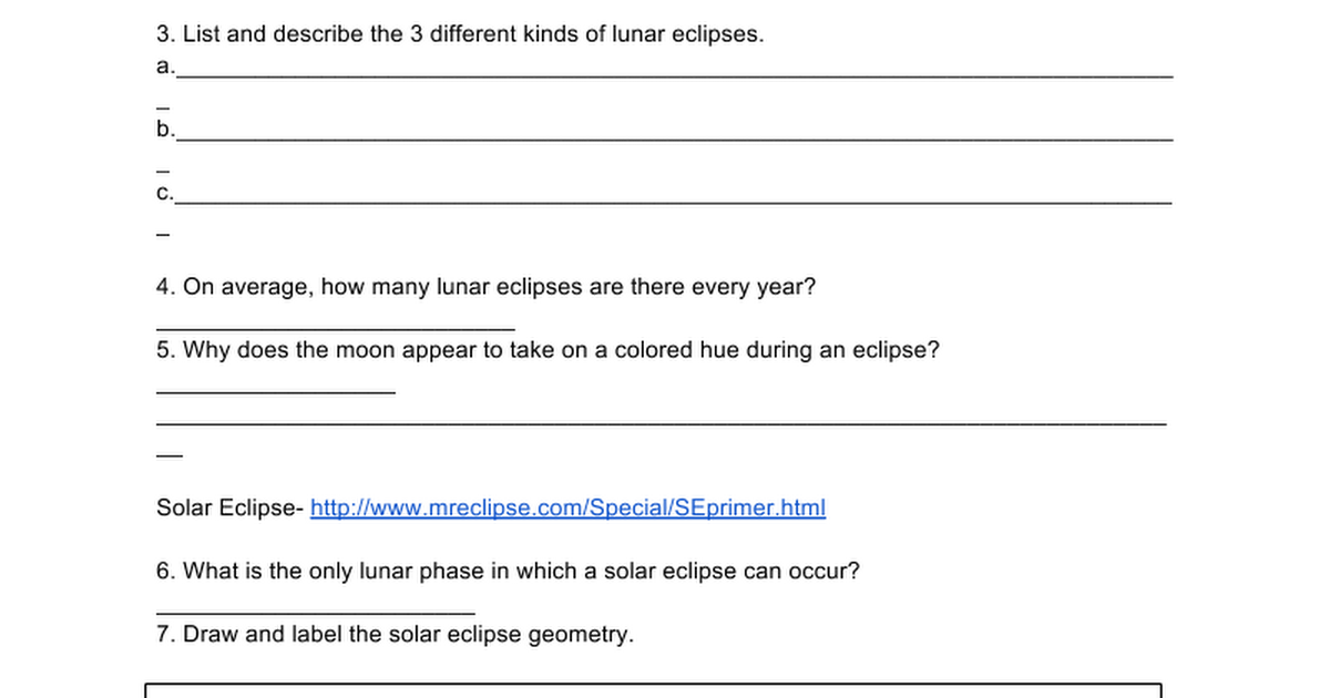 Lunar and Solar Eclipses Web quest Google Docs – Solar and Lunar Eclipse Worksheet
