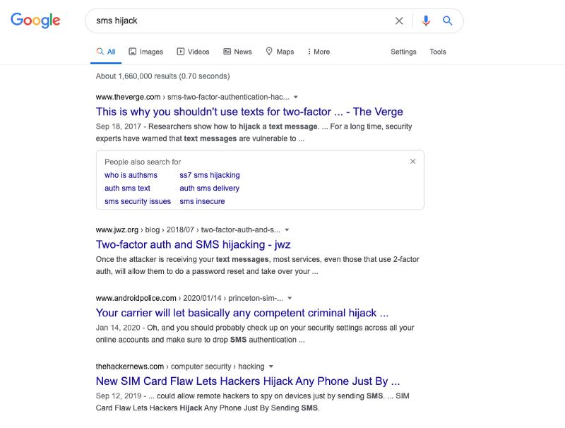 sms hijack google search