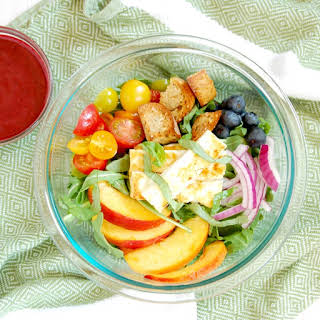 Peach Panzanella Salad with Halloumi Cheese and Blueberry Balsamic Dressing.