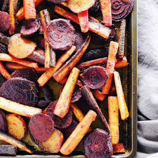 Turmeric Maple Roasted Beets and Carrots.