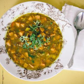 Sweet Potato Lentil Curry Soup