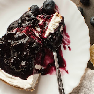 No Bake Cheesecake with Homemade Blueberry Ginger Sauce.