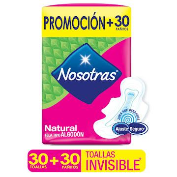 Oferta Toallas Intimas   Nosotras Natural x 30 + 30 Toal. Hum