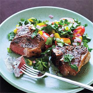 Greek Lamb Chops and Mint Yogurt Sauce