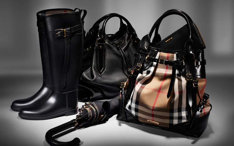 Photo: Walking Umbrella, Whipstitch Bag, Metallic Frame Bag and Equestrian Rain Boots