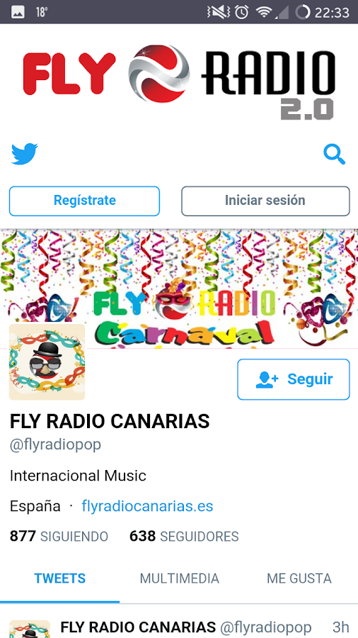 Fly Radio Canarias 2.0: captura de pantalla