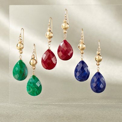 Photo: Gold Earrings with Gemstone Drops
