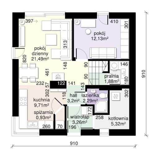 Dom przy Cyprysowej 56 - Rzut parteru