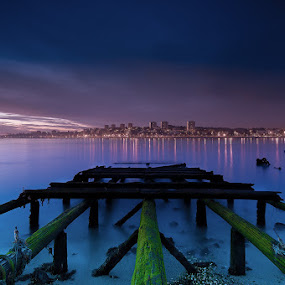 The old pier by Raul Nunes - Landscapes Waterscapes ( lights, wood, sunset, pier, night, river, city )