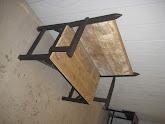 Photo: Bench.  Aluminum and reclaimed barn wood.  Black sandtex powder-coated finish.