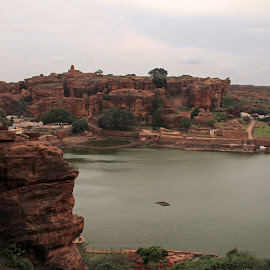 View of the 7th century chalukyan Capital by Srivenkata Subramanian - Landscapes Mountains & Hills ( cloudy, overcast, karnatka, badami, cave temples, india, water )