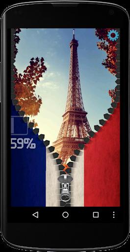 France Flag zipper Screen Lock
