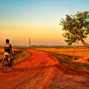 morning Cycling by Sandip Ghose - Landscapes Prairies, Meadows & Fields ( field, frame, village, sunrise, people )