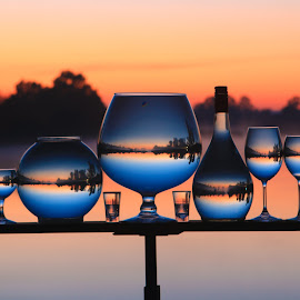 Top Class  by Stefan Klein - Artistic Objects Still Life ( glasses, sunrise, reflections, still life, river,  )