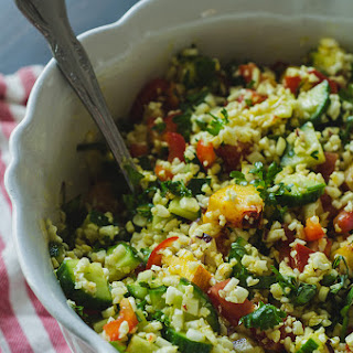 Turmeric Cauliflower Tabbouleh Salad With Veggies, Herbs & Peaches