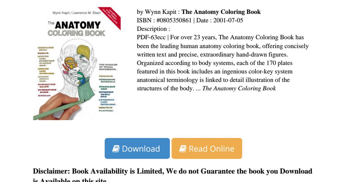 Anatomy Coloring Book Wynn Kapit PDF Fe07875d5pdf