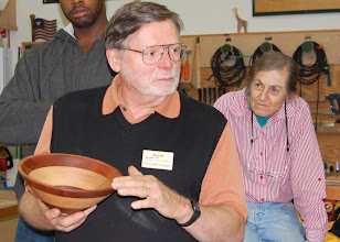 Photo: Richard Webster talks about his segmented bowl.
