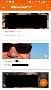 Birthdays Notifier Screenshot