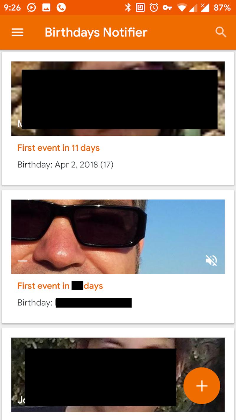 Birthdays Notifier Screenshot 0