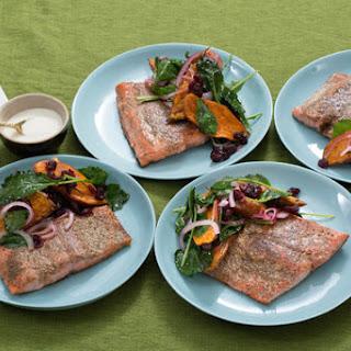 Seared Salmon & Sweet Potato Salad with Lemon Crème Fraîche.