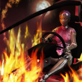 Robot Girl Going Down In Flames by Emily Fnm3d - Illustration Sci Fi & Fantasy ( flames, accident, technology, high resolution, vehicle, robot, space, tech, fire, detailed render, disaster, explode, fantasy, planet, girl, buggy, 3d, female, explosion, stars, woman, dramatic )