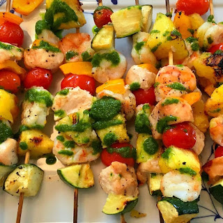 Chicken and Shrimp Kabobs with Basil Oil.