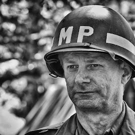 by Marco Bertamé - Black & White Sports ( p, gi, soldier, helmet, letter, metal, military, man, portrait, m )