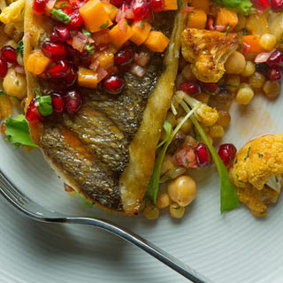 Grilled Orata with Cauliflower, Fregola, and Persimmon-Pomegranate Salsa