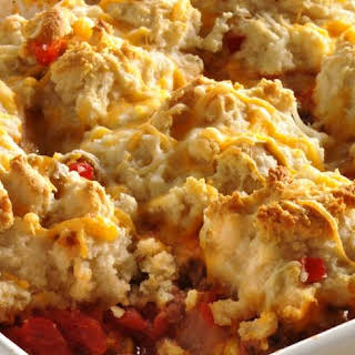 Biscuit-Topped Beef and Corn Casserole.