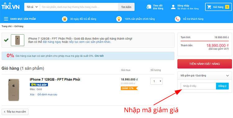 Nhập mã khuyến mại cho tài khoản mới mà Tiki gửi vào ô Mã giảm giá/Quà tặng khi mua hàng lần đầu