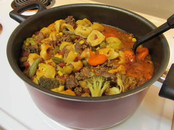Veggie, Beef, And Tortellini Soup Recipe