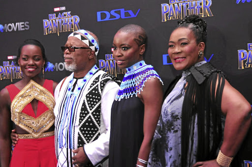 African celebrities: Lupita Nyong'o, John Kani, Danai Gurira and Connie Chiume. The opportunities presented by the Hollywood blockbuster movie Black Panther, in which the heroes of the picture are all black and are portrayed in a positive light, offers a chance for the cultural marketing of Africa globally. Picture: SUNDAY TIMES