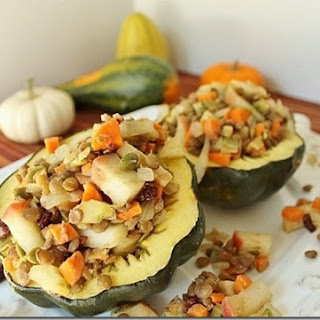 Apple Lentil Stuffed Acorn Squash