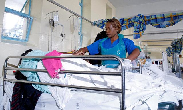 A patient suffering from cholera is attended to at KNH.